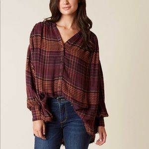 $108 Free People Come Over Button Down Flannel Sm